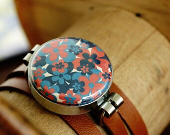 Floral Magnetic Bracelet - Interchangeable - Leather Wrap Band  - Recycled by Polarity