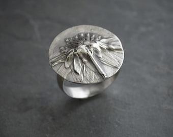 Botanical Ring, Statement Ring, Black-eyed Susan Ring, Prairie Wildflower Ring, Nature Ring, Plant Ring, Size 7