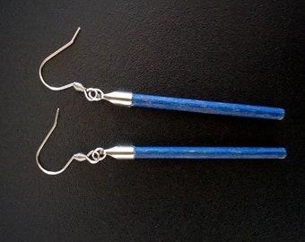 Earrings - hand painted walnut wood in primary blue