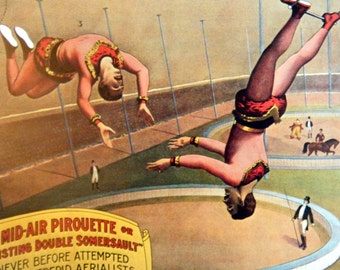 Marvelous Midair Pirouettes  Vintage Circus Poster -  Poster Size Vintage Book Plate