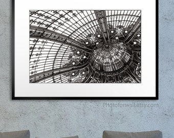 Paris Photography/black and white fine art photography/Galeries Lafayette/Ceiling/stained glass Paris/Paris bedroom decor/large wall art