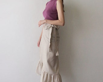 3Colors Linen wrap skirts / apron wrap skirts / frill linen wrap skirt / long skirts / linen long skirt / flare linen skirt / romantic skirt