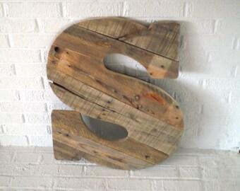 Large Wood Letter S Wooden Letter Wall Art Modern Wall Art