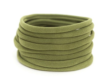 OLIVE GREEN Nylon Headbands, One Size Fits All, Skinny Nylon Headbands, Run-Resistant Headbands, DIY Baby Headbands, Stretchy Baby Headbands