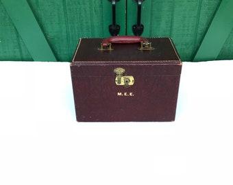 Vintage Leather Train Case, Make Up Bag,Cosmetic Bag, Storage Bag, Mirror,Monogram M.E.E
