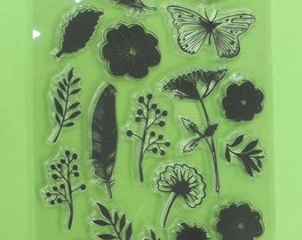 25 stamps silicone transparent patterns: leaves, feathers, butterfly