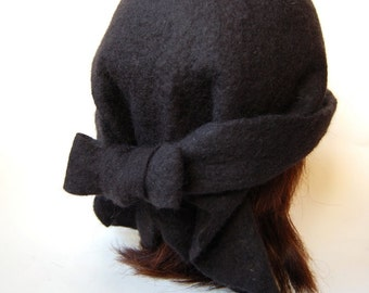 Black Felt hat Womens hat Natural wool black hat for any size Handfelted hat
