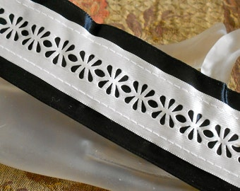 Black and Silver Floral Trim