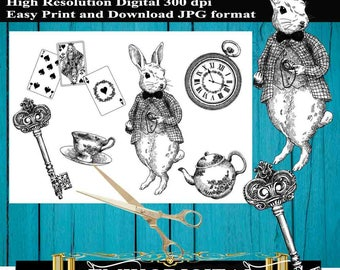 Alice in Wonderland Collage Sheets,Alice Digital Paper,Alice in the wonderland digital,tea party download,Alice in the wonderland stickers