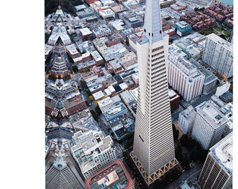 Transamerica Pyramid San Francisco Art Print Wall Decor Image - Canvas Stretched Framed