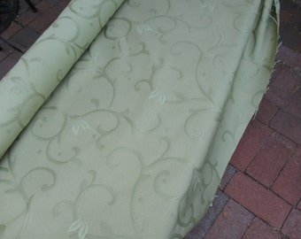 Pistachio Upholstery Fabric With Embroidered Design and Sample