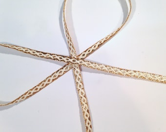 """Gold and White Narrow Trim, lurex and rayon, vintage, 1/4"""" wide, 37 yds per lot, 2 lots available."""