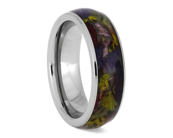 Flower Ring, Titanium Wedding Band Inlaid With Personalized Flower Petals, Floral Jewelry