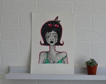 """Original watercolour painting, Art deco portrait """"Cherry baby"""""""