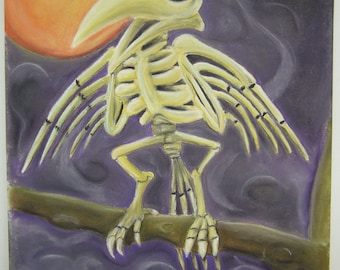 Skeleton bird standing in front of an orange moon original pastel drawing