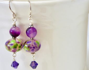 Gift under 25 for Mom,  Purple and Green Earrings, Modern Lampwork Glass Earrings, Purple Hollow Earring, Ultra Violet and Green Jewelry