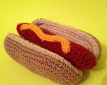 Crocheted Hot Dog and Bun