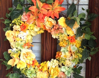 Summer wreath Spring wreath Flower wreath Door wreath Mixed florals  Yellow and Orange  florals Various filler flowers Green vine leaves Ful