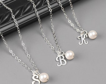 Bridesmaid Necklace SET OF 8 Personalized Necklaces - Sterling Silver Initial Necklace - Personalized Bridesmaid Jewelry - Bridal Party Gift