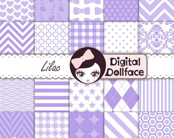 Lavender, Lilac Digital Paper, Purple Scrapbook Paper, Baby Girl Printable