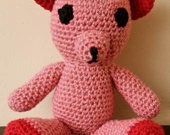Crochet Amigurumi Pink Valentines Teddy Bear Stuffed Animal