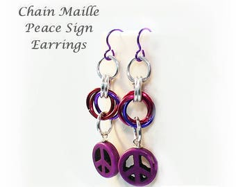 Purple Peace Sign Earrings, Purple Earrings, Niobium Ear Wires, Purple Lightweight Chainmaille Earrings - E2017-10