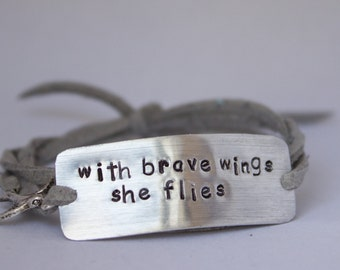 """inspirational quote bracelet, """"with brave wings she flies"""", graduation gift, inspirational jewelry, gift for her, gift for graduate, charm"""