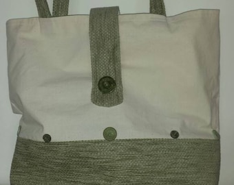 Large button detail tote bag.