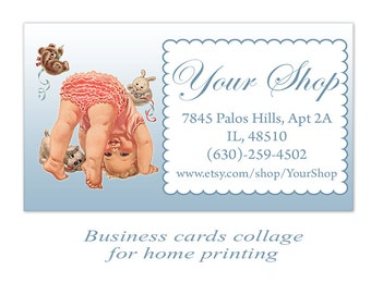 Baby shop business cards Digital cards on Digital collage sheet
