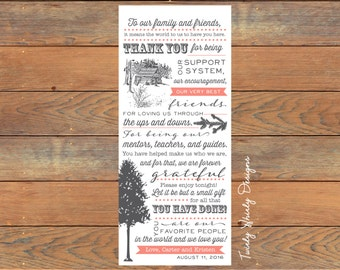 Rustic Cabin Pine Forest Thank You Wedding Place Settings Printable