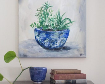 """Potted Plants Original Painting (Acrylic on Canvas, 16x20"""")"""