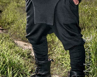 "NEW Men's ""Rogue"" Harem Styled Apron Pants in Black or White Diamond Stitched Knit by Opal Moon Designs (Sizes S -XL)"