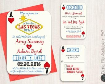 Las Vegas Wedding Invitation Suite, Poker Playing Card Vegas Wedding Invitation, Casino Invitation, Couples Shower, RSVP, Reception, DIGITAL