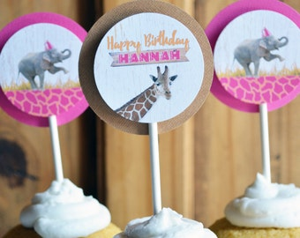 ZOO Cupcake Toppers, Safari Party, Zoo Birthday Party Decor, Animal Party Favor, Animals Party Decor, Jungle, Elephant with Hat, Giraffe DIY
