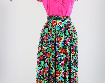 1980s Skirt - Muti Coloured Floral Full Midi Skirt - Medium - Feminine Summer Spring Vintage Skirt - Pockets - Elastic Waist