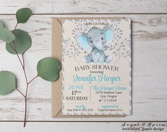 Elephant baby shower invitation etsy filmwisefo Image collections