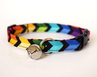 Rainbow Cat Collar, Breakaway Cat Collar, Handmade Cat Collar, Cute Cat Accessories, Pet Accessories, Fabric Cat Collar, LGBT Pride Collar