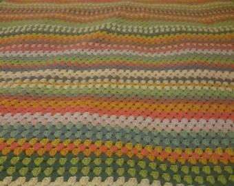 "Handmade crochet treble crochet colourful blanket, granny stripes approx 105cm x 135cm (41.5 x 53"")"