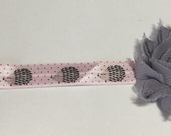 Pink and Grey Hedgehog Headband, Newborn Headband, Baby Headband, Headband, Infant Headband, Girls Headband, Pink and Grey Headband