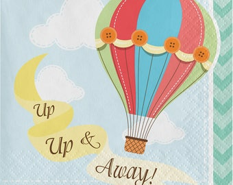 Up, Up and Away Beverage Napkins, Hot Air Balloon Paper Napkins, Balloons Dinnerware, Dessert Napkins