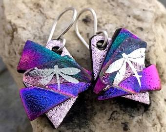 Pretty 3D Dichroic Glass Earrings - Pink and Purple Rainbow & Silver Dragonfly with Sterling Silver Hooks