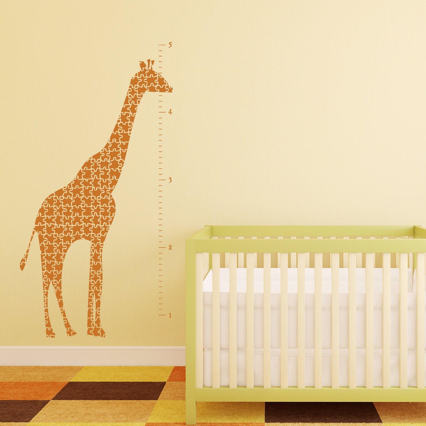 Giraffe growth chart vinyl wall decal giraffe puzzle zoom nvjuhfo Choice Image