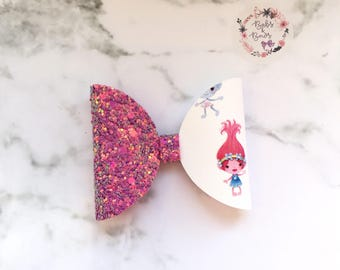 Trolls Poppy Glitter Fabric Bow Hair Accessory (headband or clip)