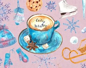 Cozy Winter Watercolor Clip Art Set