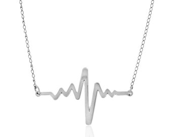Silver Heart Beat Necklace, Pendant, Sterling Silver, minimalism, simple jewelry, everyday jewelry