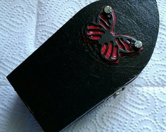Handpainted Wooden Gothic Coffin Jewelry Box with Butterfly Christmas Halloween Goth Great Gift Idea