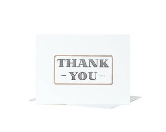 10 Pack Classy Thank You Card / Letterpress Card / Blank Greeting Card / Thank You Card / Black and Gold / Letterpress Thank You /