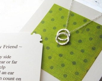 BEST FRIEND Necklace Poem Card All Sterling Silver Gift for Best Friend Jewelry Christmas Gift for Best Friend BFF Gift Ready Gifts Under 40