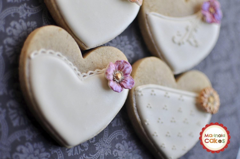 Cookie Wedding Favor- 1 Dozen Bride Heart Cookie Favors, Wedding ...