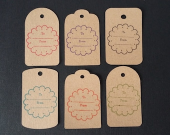 6 x Medium Kraft Gift Tags with twine, General Tags, To Tags, From Tags